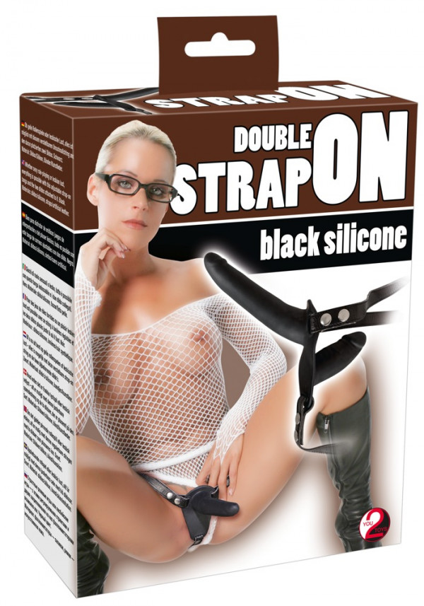Black Silicone Double Strap-on